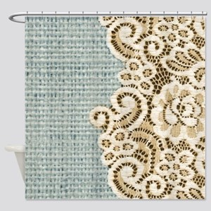 shabby chic lace burlap Shower Curtain