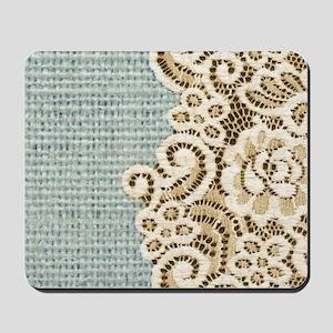 shabby chic lace burlap Mousepad