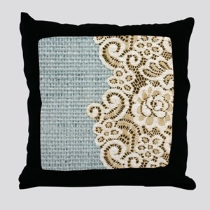 shabby chic lace burlap Throw Pillow