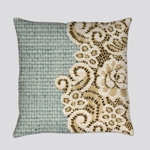 shabby chic lace burlap Everyday Pillow