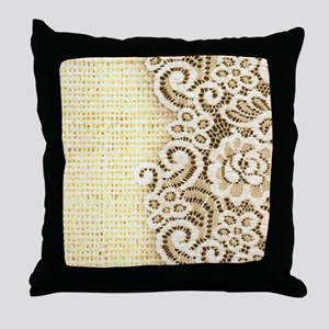 rustic country burlap lace Throw Pillow