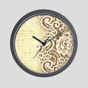rustic country burlap lace Wall Clock