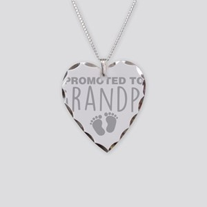 Promoted To Grandpa Necklace Heart Charm