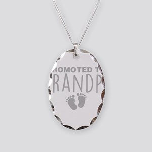 Promoted To Grandpa Necklace Oval Charm