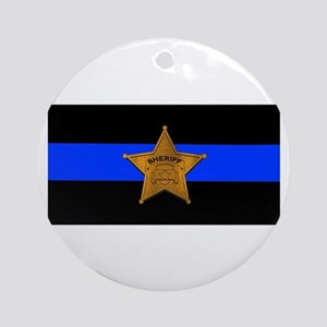 Sheriff Thin Blue Line Round Ornament