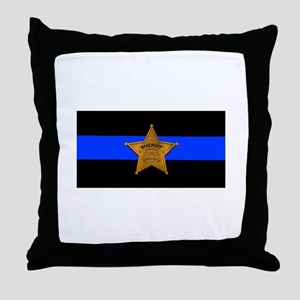 Sheriff Thin Blue Line Throw Pillow