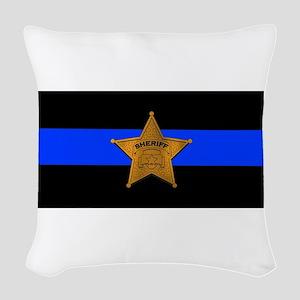 Sheriff Thin Blue Line Woven Throw Pillow