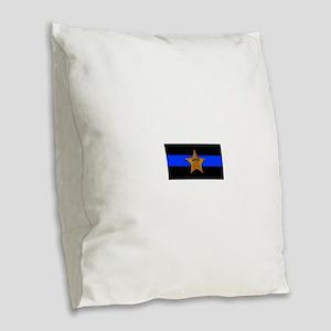 Sheriff Thin Blue Line Burlap Throw Pillow