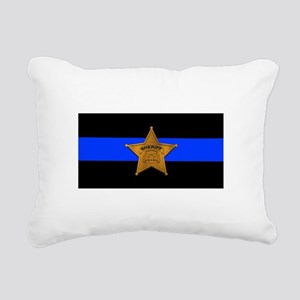 Sheriff Thin Blue Line Rectangular Canvas Pillow