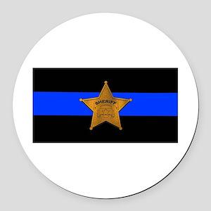 Sheriff Thin Blue Line Round Car Magnet