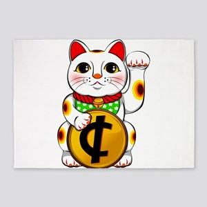 Cent Lucky Cat Maneki Neko 5'x7'Area Rug