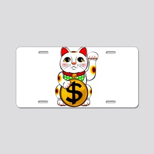 Dollar Lucky Cat Maneki Nek Aluminum License Plate
