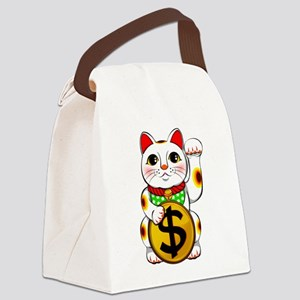 Dollar Lucky Cat Maneki Neko Canvas Lunch Bag