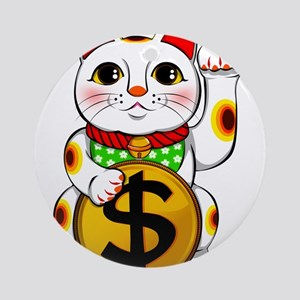 Dollar Lucky Cat Maneki Neko Round Ornament