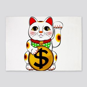 Dollar Lucky Cat Maneki Neko 5'x7'Area Rug