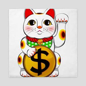 Dollar Lucky Cat Maneki Neko Queen Duvet