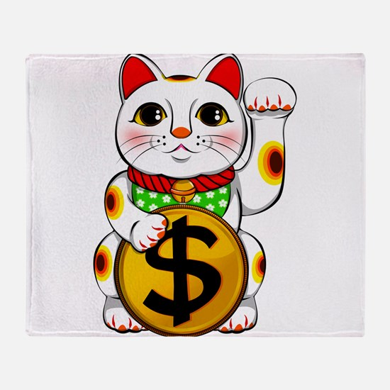 Dollar Lucky Cat Maneki Neko Throw Blanket