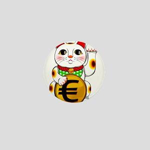 Euro Lucky Cat Maneki Neko Mini Button