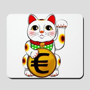 Euro Lucky Cat Maneki Neko Mousepad