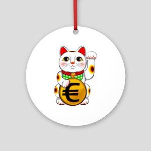 Euro Lucky Cat Maneki Neko Round Ornament
