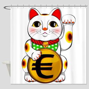 Euro Lucky Cat Maneki Neko Shower Curtain