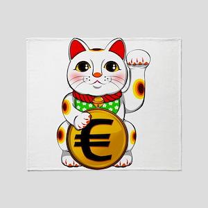Euro Lucky Cat Maneki Neko Throw Blanket