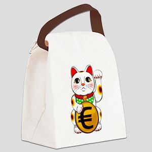 Euro Lucky Cat Maneki Neko Canvas Lunch Bag