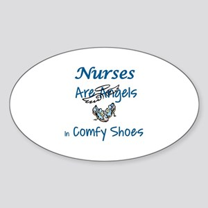 NURSES ARE ANGELS IN COMFY SHOES Sticker (Oval)