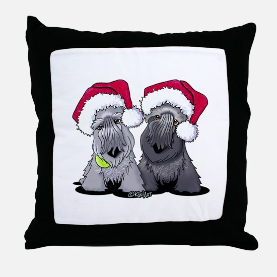 Christmas Cesky Terriers Throw Pillow