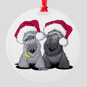 Christmas Cesky Terriers Round Ornament