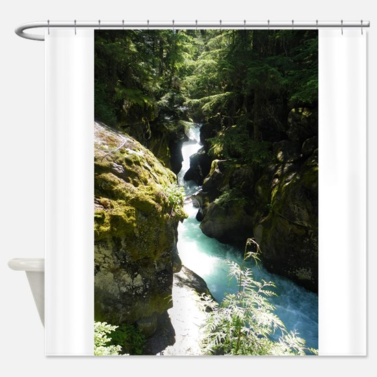 Glacier Waterfall Shower Curtain