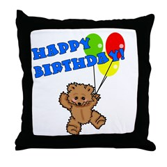 Birthday Bear & Balloons Throw Pillow