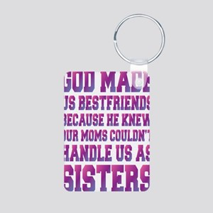 God Made Us Best Friends B Aluminum Photo Keychain