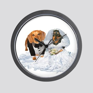 Wedding Dachshunds Dogs Wall Clock