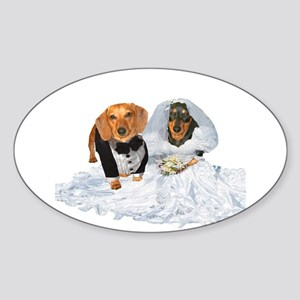 Wedding Dachshunds Dogs Oval Sticker