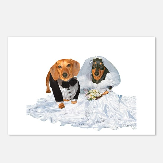 Wedding Dachshunds Dogs Postcards (Package of 8)