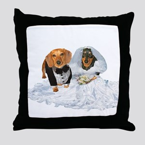 Wedding Dachshunds Dogs Throw Pillow