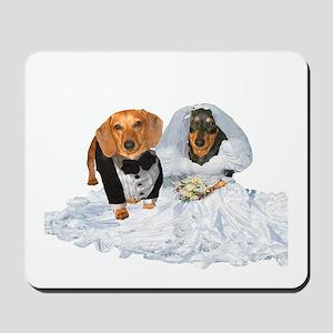 Wedding Dachshunds Dogs Mousepad