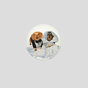 Wedding Dachshunds Dogs Mini Button