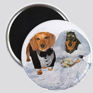 Wedding Dachshunds Dogs Magnet