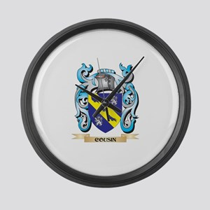 Cousin Coat of Arms - Family Cres Large Wall Clock