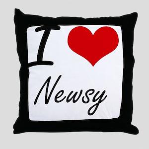 I Love Newsy Throw Pillow