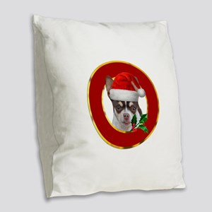 Christmas Chihuahua dog Burlap Throw Pillow