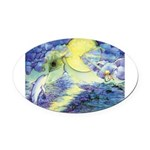 Dolphins Dance Oval Car Magnet