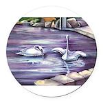 Swans Round Car Magnet