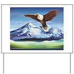 Eagle Above Mt Shasta Yard Sign