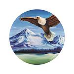 Eagle Above Mt Shasta Button