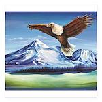Eagle Above Mt Shasta Square Car Magnet 3