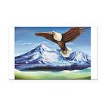 Eagle Above Mt Shasta Rectangle Car Magnet