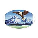 Eagle Above Mt Shasta Oval Car Magnet